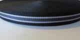 Tassenband 2,5 cm zwart-grijs zware kwaliteit_