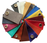 Schouderband echt leer in 4 lengtes 15 kleuren en Brons musketons_