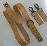 Leren verstelbare schouderband met musketonset in meerdere kleuren in brons nikkel of messing_