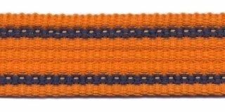 Tassenband 2,5 cm oranje/streep zware kwaliteit