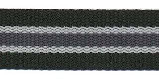 Tassenband 2,5 cm zwart met grijze streep.