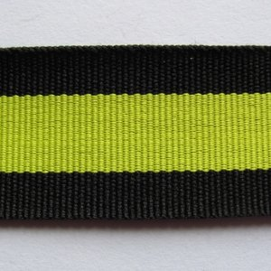 Tassenband 3 cm zwart met limoen.