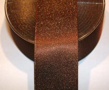 Satijnband bruin met goud 4 cm