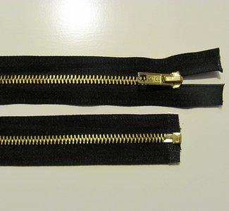 Beige deelbare rits 50 cm goudkleurige bloktits
