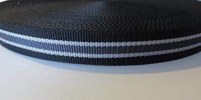 Tassenband 2,5 cm zwart-grijs zware kwaliteit