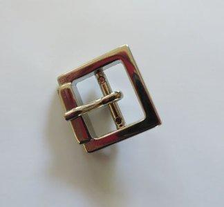 Gesp  nikkel/zilverkleur met vaste passant doorvoer  15mm