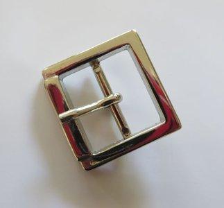Gesp  nikkel/zilverkleur met vaste passant doorvoer  25 mm