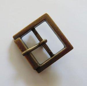 Gesp  brons met vaste passant doorvoer  25 mm