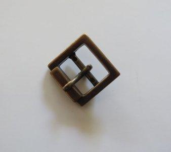 Gesp  bronskleur met vaste passant doorvoer  15 mm