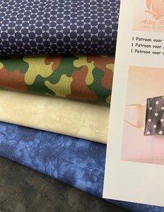 Compleet pakket voor mannen om 10 mondkapjes te maken incl. 3 patronen